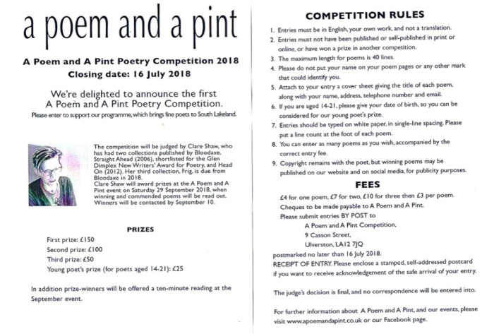 a poem and a pint competition