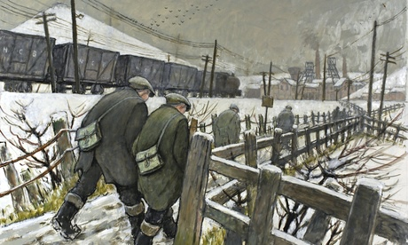 Miners on the Pit Road, oil on board, by Norman Cornish